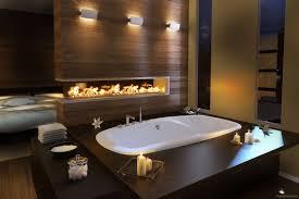 bathroom luxury rectangle blck modern wall fireplace in bathroom