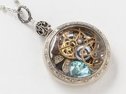 topaz crystal necklace images Steampunk necklace victorian sterling silver pocket watch case jpg