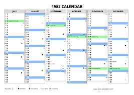 1982 calendar free calendars
