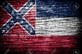 Missippi State Flag Mississippi State Flag Painted On Old Wood Plank Texture Stock