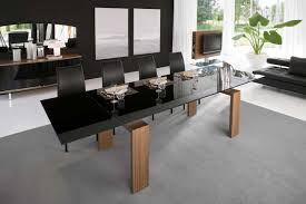 Black Glass Extending Dining Table Modern Open Dining Room Design With Futuristic Black Glass Top