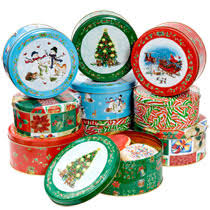 christmas tins bulk printed cookie tins with lids at dollartree