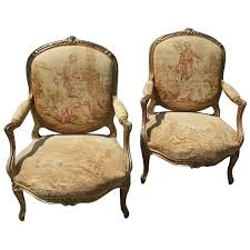 Louis 15th Chairs Pair Of Louis Xv Gilt Fauteuil Armchair W Aubusson Style