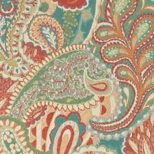 orange teal green orange paisley contemporary upholstery