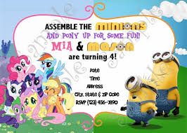 minions and my little pony birthday party invitation thank you