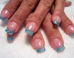 blue nail designs blue glitter blend with clear acrylic nail