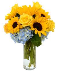 sunflowers roses and hydrangea flower arrangement atlanta