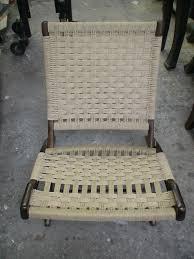 danish modern danish cord folding chair caning rush wicker