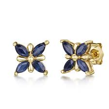 9ct gold stud earrings 9ct gold butterfly patterned blue sapphire stud earrings 7mm 9ct