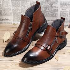 new arrival men autumn buckle ankle boots genuine leather oxford