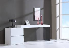 Modern Desk With Drawers Contemporary Two Drawer White High Gloss Office Desk With Glass