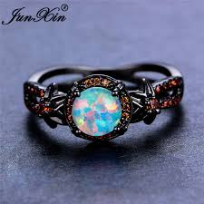 fire rings jewelry images White fire opal star flower ruby ring black gold jewelry wedding jpg