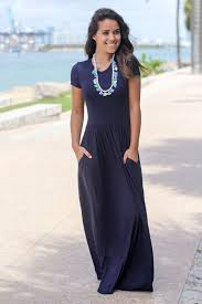 Formal Dresses With Pockets Navy Short Sleeve Maxi Dress With Pockets Maxi Dresses U2013 Saved