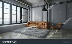 concept interior design cinematic modern living room white wall stock illustration