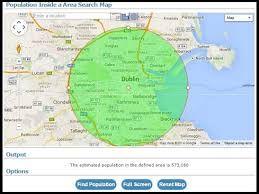 draw a radius on a map find population on map
