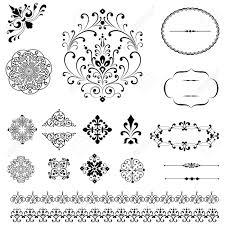 ornaments borders set set of black vector ornaments repeating