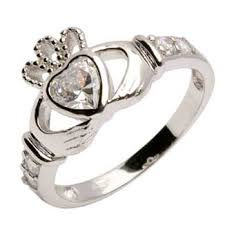 ring with birthstones silver claddagh rings birthstones aprilmonstermarketplace world