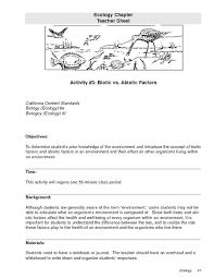 abiotic and biotic factors lesson plans u0026 worksheets