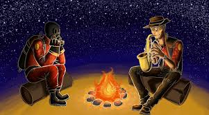 tf2 halloween background playing the saxophone with pyromaniac artwork games