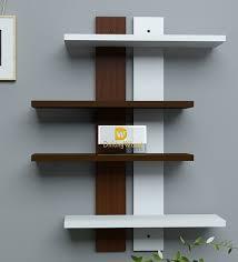 wall shelves pepperfry buy white brown engineered wood wall shelf by driftingwood online