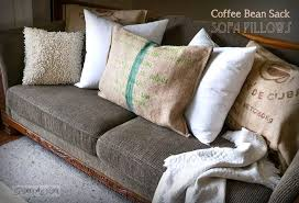 no sew burlap coffee bean sack sofa pillowsfunky junk interiors