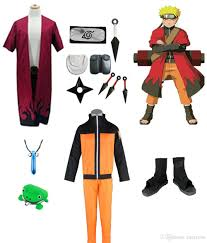 Naruto Costumes Halloween Naruto Cosplay Costume Immortal Mode Robe Shoes Headband Weapons