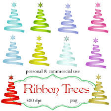 clip art christmas ribbon trees png digital files no 088