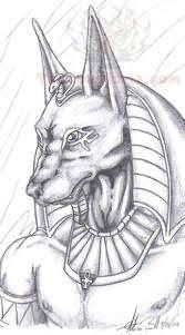 sketch of egyptian god anubis tattoo design
