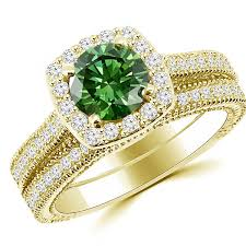 gold engagement ring settings green halo engagement wedding ring set antique style