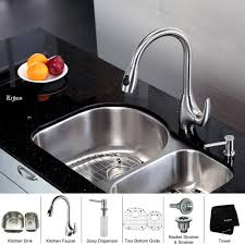 kraus kbu21kpf2170sd20 30 inch undermount 60 40 double bowl 60 40 double bowl kitchen sink with 16 gauge stainless steel construction pull down faucet basket strainer two bottom grids and soap dispenser