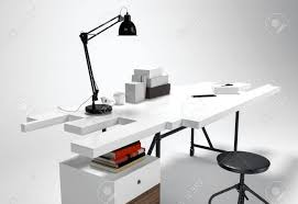 Futuristic Office Desk White Modern Office Desk Concept With L Stool