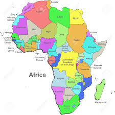 the map of africa color map of africa with countries on a white background royalty