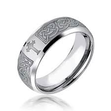 day rings celtic cross design curved brushed tungsten ring 8mm