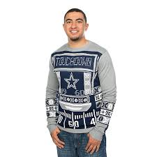 mens light up ugly christmas sweater dallas cowboys mens light up crew neck ugly sweater holiday