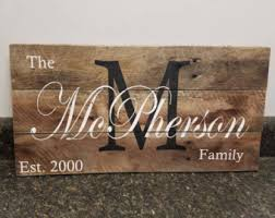 wedding gift name sign last name wood sign etsy