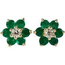 emerald stud earrings diamond emerald studs 14k gold pierced stud earrings
