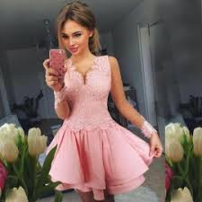 buy a line bateau cap sleeves short pink homecoming dress special