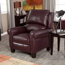 Recliner Computer Desk by Burgundy Top Grain Leather Upholstered Wing Back Club Chair