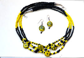 black bead necklace images Tbzss004 24 inch multi stranded black yellow and silver seed jpg