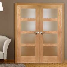 Fire Rated Doors With Glass Windows by Shaker 4 Pane Oak 1 2 Hour Fire Rated Door Pair With Obscure Fire
