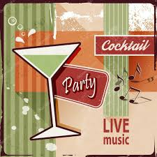 cocktail party invitation with music notes vintage poster design