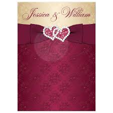 wedding invitations burgundy wedding invitation burgundy gold damask printed ribbon