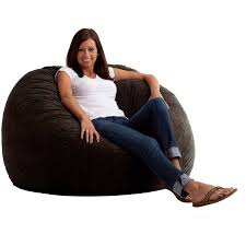 large 4 u0027 fuf comfort suede bean bag chair black onyx walmart com