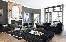 alluring fireplace facing dark sofa on wooden floor inside living