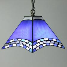 Blue Pendant Lights Mission Style Pendant Lights Mission Motif Blue Stained Glass One