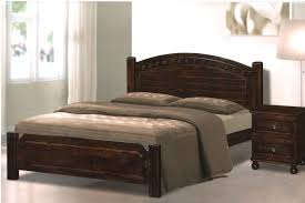 Bed Frame Brown Wooden Bed Frame With Headboard And Grey White Bedding Set