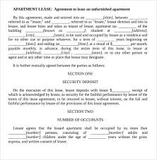 sample apartment rental agreement template 6 free documents in