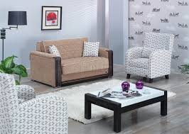 Contemporary Accent Chairs For Living Room Denver Loveseat Bed In Beige Fabric W Optional Accent Chairs