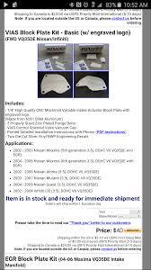 nissan maxima egr valve fl fs nwp vias block plate kit engraved new maxima forums