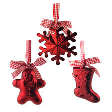 gingerbread snowflake bell hanging plastic ornaments